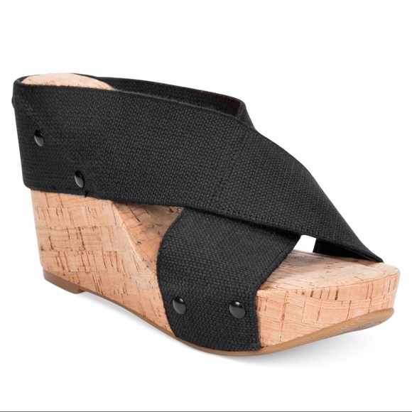 4396ac78cb39f6 Lucky Brand Shoes - Lucky Brand Miller 2 Black Cork Wedge Slides